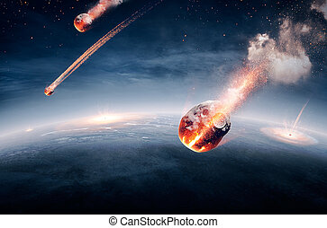 Meteorites on their way to earth and breaking through ...