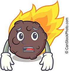 meteorito, estilo, amedrontado, caricatura, mascote