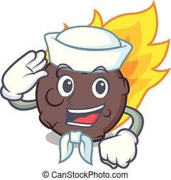 meteorito, marinheiro, personagem, estilo, caricatura