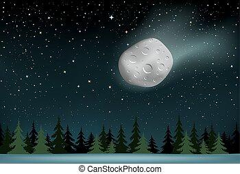 meteorito, sobre, madeira, noturna, quedas