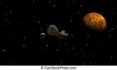 meteoritos, voando, direção, terra
