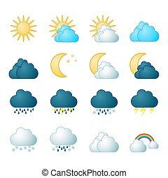 meteorología, conjunto, iconos