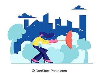 meteorologia, pora, miejski, zawrócony, autumn krajobraz, poza, miasto, deszczowy, wiosna, tło., dzierżawa, płaski, kobieta, parasol, mieszkaniec, deszcz, ilustracja, silny, rysunek, wnętrze, storm., wektor, wiatr, prospekt