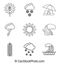 Meteorological conditions icons set, outline style