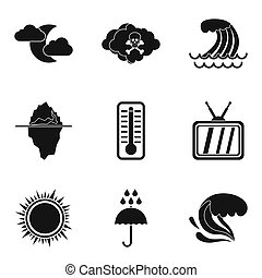 Meteorological service icons set, simple style