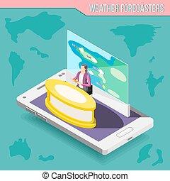 Meteorologist Isometric Composition - Meteorologist ...