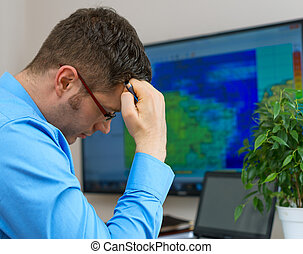 meteorologist, thinking., macho, óculos, bonito