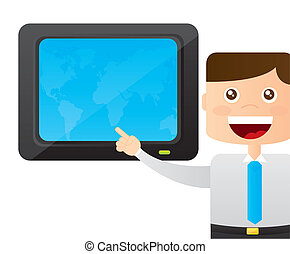meteorologist with map cartoon over white background vector ...