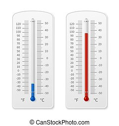 Meteorology indoor thermometer realistic vector illustration isolated