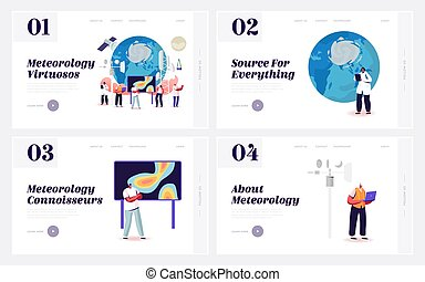 Meteorology Landing Page Template Set. Tiny Characters ...