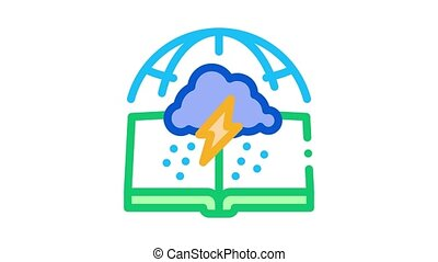 meteorology science Icon Animation. color meteorology science animated icon on white background
