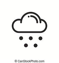 meteorology., simples, isolado, tempo, desenho, logotipo, element., teia, symbols., neve, previsão, app, modelo, nuvem, snowflake, apartamento, linear, sinal., linha, widgets., illustration., céu, móvel, vetorial, icon.