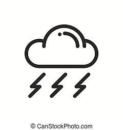 meteorology., simples, tempo, desenho, element., linear, teia, symbols., isolado, previsão, app, nuvem tempestade, logo., apartamento, modelo, sinal., linha, widgets., illustration., céu, móvel, vetorial, chuva, icon.