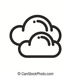 meteorology., simples, tempo, desenho, element., teia, symbols., isolado, previsão, app, modelo, nuvem, logo., apartamento, céu, linear, sinal., linha, widgets., illustration., céu, móvel, vetorial, icon.