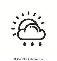 meteorology., simples, tempo, desenho, logotipo, element., teia, symbols., isolado, previsão, app, modelo, nuvem, apartamento, linear, sinal., chuva, sol, luz solar, linha, widgets., illustration., móvel, vetorial, icon.