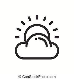 meteorology., simples, tempo, desenho, nuvem, teia, symbols., isolado, previsão, vetorial, element., modelo, logo., apartamento, linear, sinal., sol, luz solar, linha, widgets., illustration., móvel, app, icon.