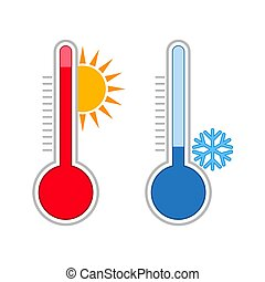 Meteorology thermometers. Measuring hot and cold temperature.