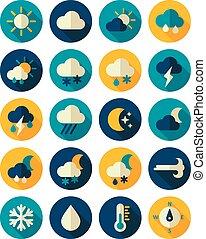 Meteorology Weather flat icons set