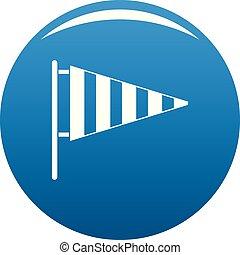 Meteorology windsock icon blue vector