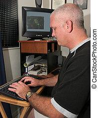meteoroloog, op, de, computer