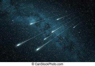 meteorregen, in, der, sternennacht, himmelsgewölbe