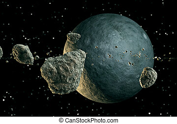 Meteors and planet. - Multiple meteor lumps flying in space...