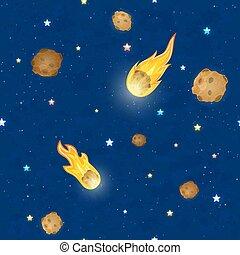 meteorstenar, stjärnor, sky, seamless, bakgrund