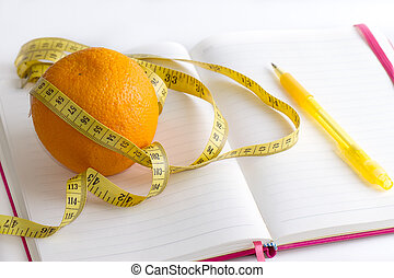 meter and nutrition diary isolated with soft shadow over...
