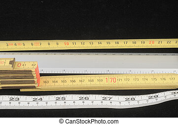 Meter Measurement Method Isolated on a Black Background