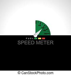 meter over black white background