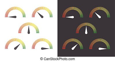meter signs infographic gauge element from red to green...