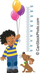 Meter wall or height chart with boy and puppy - Meter wall...