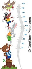 Meter wall or height meter with funny bear, rabbit, hedgehog and owl. Height chart or wall sticker. Childrens vector illustration with scale from 50 to 150 centimeter to measure growth