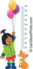 Meter wall or height chart of girl in green coat and rubber boots with balloons and funny cat beside her. Children vector illustration with a Height scale from 50 to 140 centimeters to measure growth
