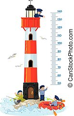 Meter wall or height chart with lighthouse - Meter wall or ...