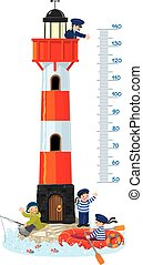Meter wall or height chart with lighthouse