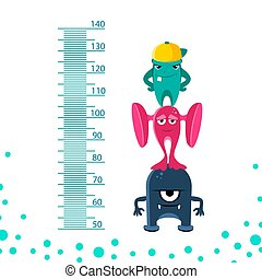 Meter wall or height meter from 50 to 140 centimeter with cute monsters.