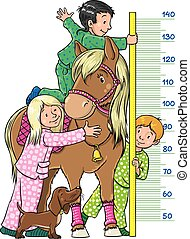 Meter wall with children and a pony