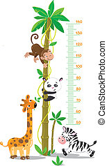 Meterwall (stadiometer) with big high palm tree with monkey, panda, giraffe and zebra. Children vector illustration