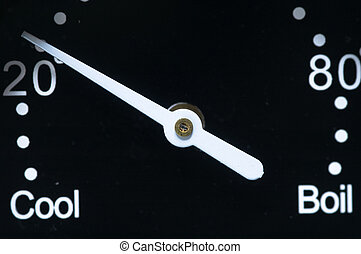 White pointer that indicate from cool to boil on black background