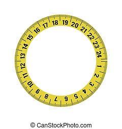 meter yellow tape measure tool icon. Vector graphic - meter...