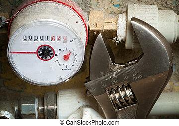meters for water  - a meters for water in the bathroom