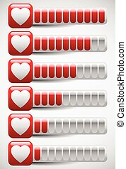 Meters with Heart Shapes. Love Meter, Health Points in Computer Game, Stamina, Blood Pressure, Cardio Concepts. Meters with Heart Shapes. Love Meter, Health Points in Computer Game, Stamina, Blo