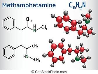 Methamphetamine (crystal meth, C10H15N) molecule, is a...