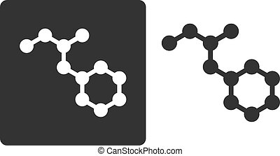 Methamphetamine (crystal meth) drug molecule, flat icon style. Nitrogen and carbon atoms shown as circles; hydrogen atoms omitted.