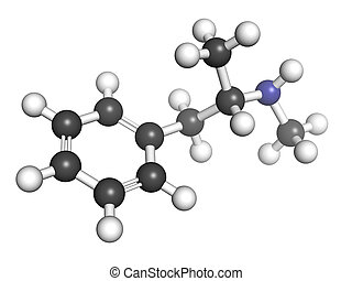 methamphetamine (crystal, meth) psychostimulant drug, molecular model. Atoms are represented as spheres with conventional color coding: hydrogen (white), carbon (grey), nitrogen (blue)