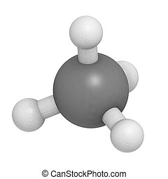 Methane (CH4) gas molecule, chemical structure. Methane is...