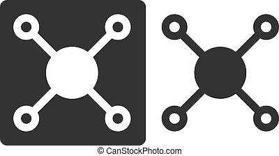 Methane (CH4) natural gas molecule, flat icon style. Atoms shown as circles (carbon - large white/grey, hydrogen - small grey/white).