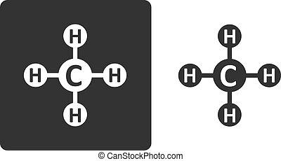 Methane (CH4) natural gas molecule, flat icon style. Atoms shown as circles.