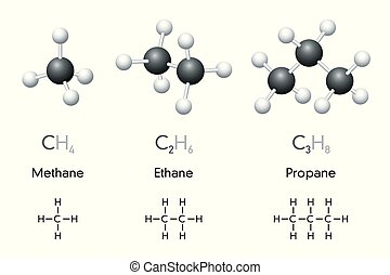 Methane, ethane, propane chemical formulas and molecule...